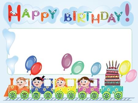 birthday train:   Birthday frame Illustration