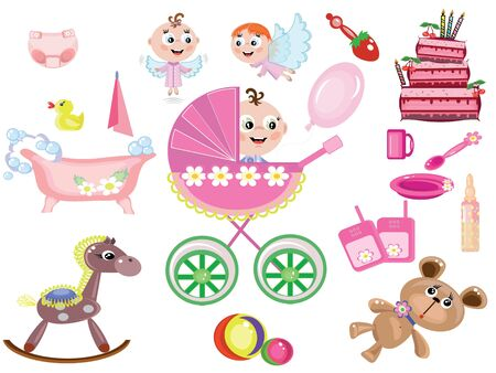Baby girl,icons Stock Vector - 9171375