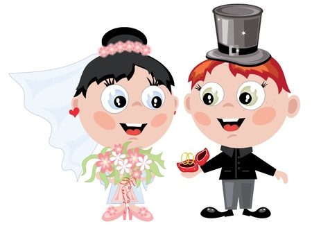 Bride and groom cartoon  isolated over white Illustration