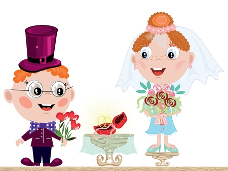 Bride and groom cartoon  isolated over white Vector