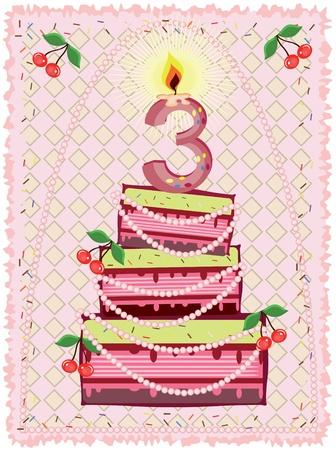 Birthday card,, three Vector