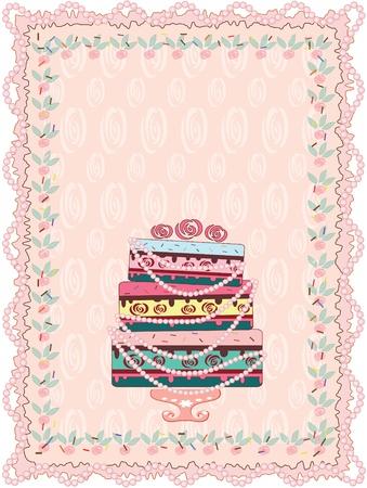 porcion de torta: Cumplea�os, tarjeta de boda Vectores