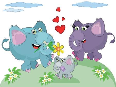 Family of elephants Vector