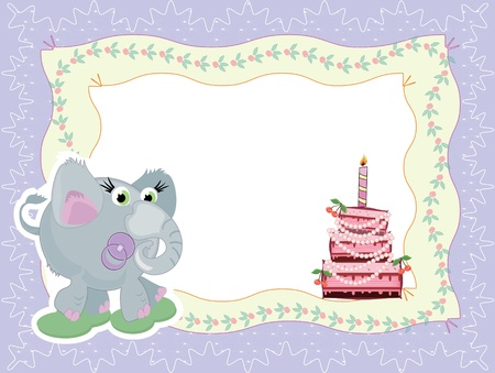 first birthday: Birthday card with elephant and cake