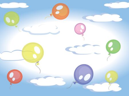 Balloons in the sky Stock Vector - 9335373