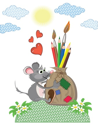 Mouse with bag of the pencils and brushes Vector