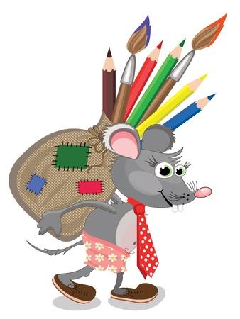 Mouse con borsa di matite e pennelli Archivio Fotografico - 9335383