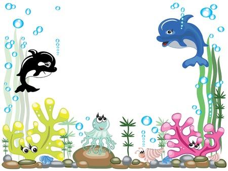 peces caricatura: Acuario, vector
