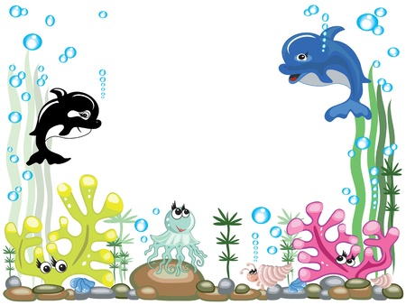 jelly fish: Aquarium,,vector Illustration
