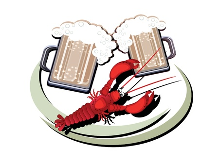 green crab: Beer and cancer,decor,,vector