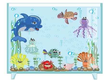 anemones: Aquarium,,vector Illustration