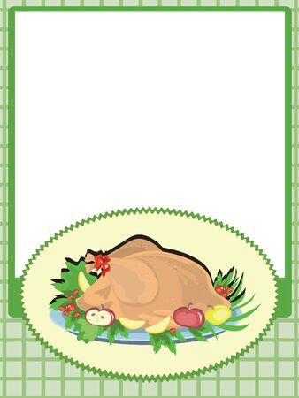 landlady: Frame with turkey,,vector