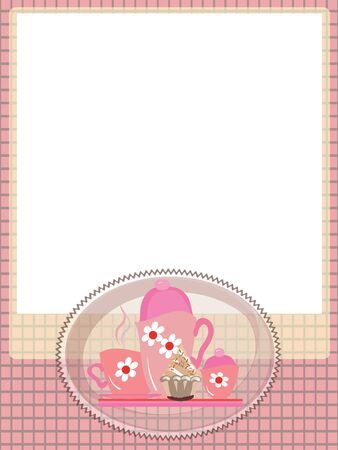 Frame with tea set,,vector Vettoriali