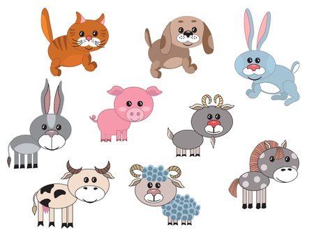Farm animals,set Vector