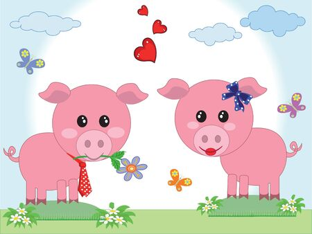 Two pigs in love Stock Vector - 9436307