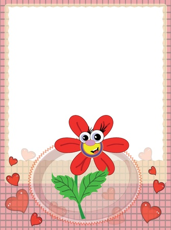 Frame with red flower Stock Vector - 9478684
