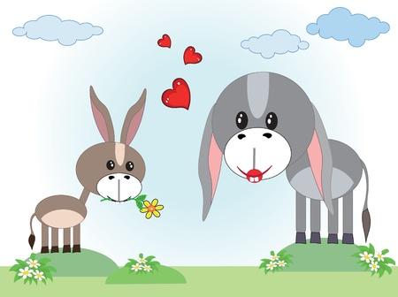 Two donkeys Vector