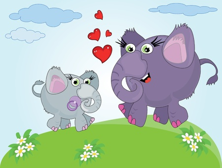 Mothers day ,two elephants,vector.  Vector