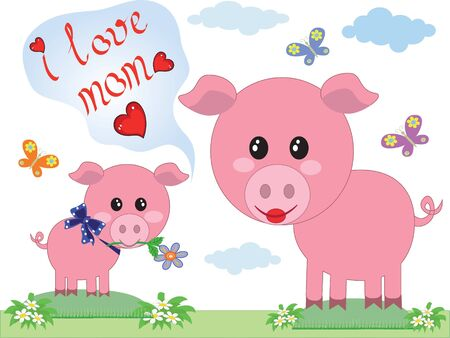 Mothers day ,two pigs,vector  Vector