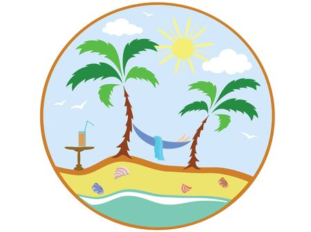 scarf beach: Summer icon. Illustration