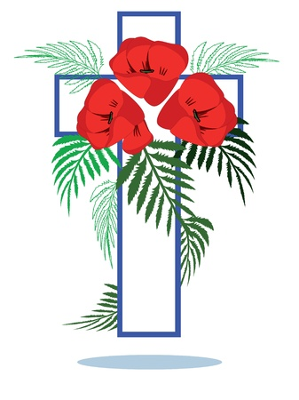 tomb of the unknown soldier: Memory day ,cross with poppies  Illustration