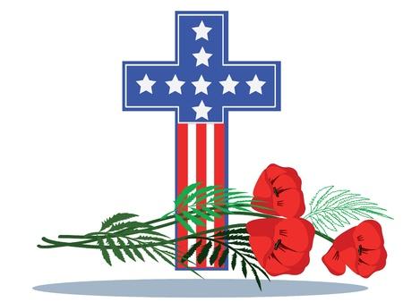 memorial cross: Memoria giorno, Croce con papaveri