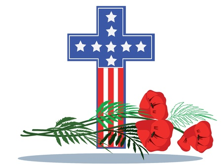 Memory day ,cross with poppies  Illustration