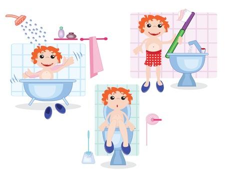 Boy in the bath room Stock Vector - 9578435