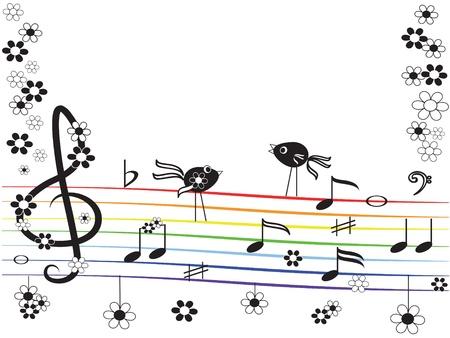 sparrow: Music rainbow,frame