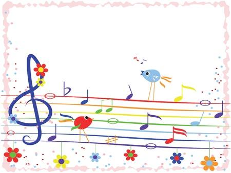 song bird: Music rainbow,frame