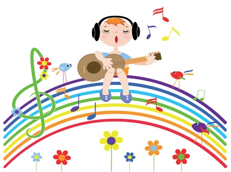 song bird: Music rainbow Illustration