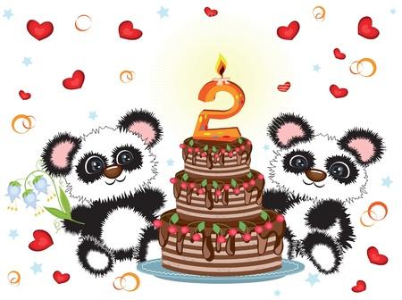 bear berry: Birthday card Illustration