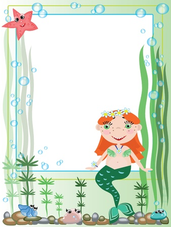 Frame with mermaid Vector
