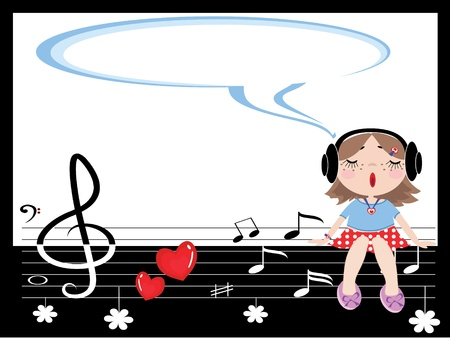 Frame with sings girl Vector