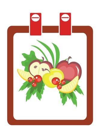 Calendar with healthy food  Vector