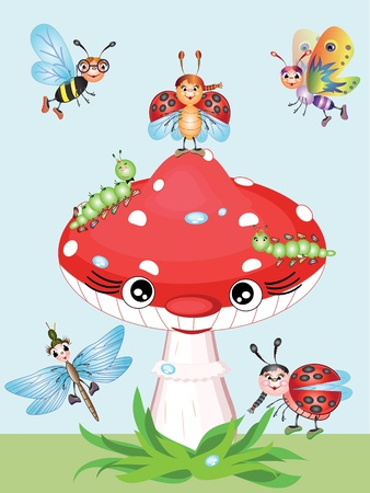 Mushroom and insects Vector