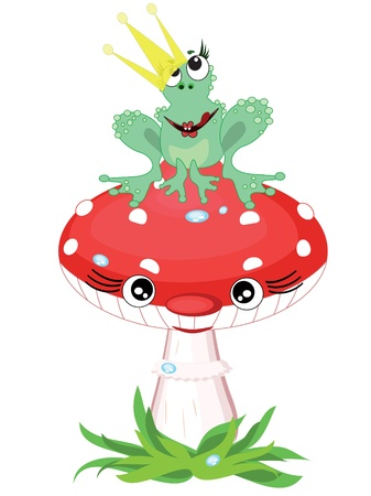 Frog and mushroom. Vector