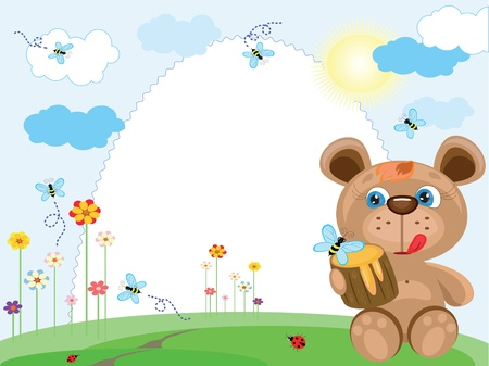Summer frame with bear Vector
