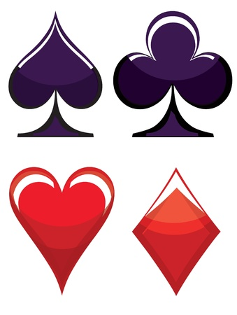 playing card symbols: S�mbolos de naipes Vectores