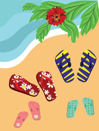 Flip flops on the sea beach. Vector