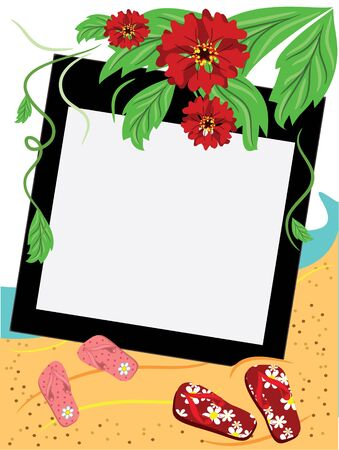 Frame on the sea beach Stock Vector - 9800369