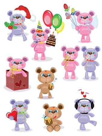 Holiday set ,Teddy bears,vector.  Vector
