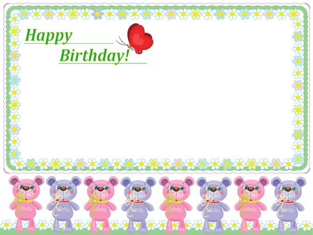 Babies frame with bears Stock Vector - 9800378