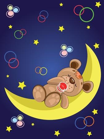 Child card. Bear sleeping on the moon Stock Vector - 9800383