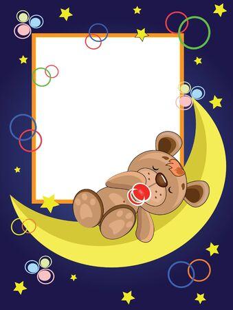Child frame. Bear sleeping on the moon Vector
