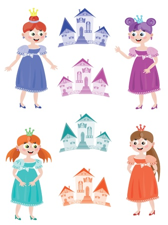 Fairy or princess with towers, set Stock Vector - 9930236