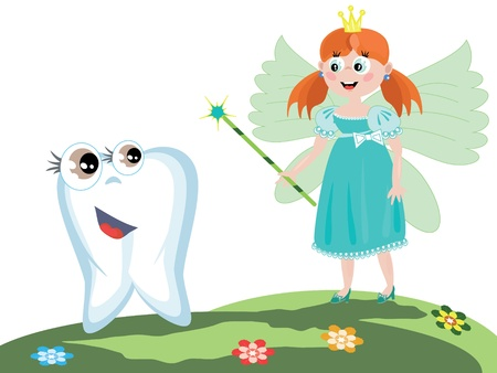 dreaming girl: Tooth fairy with magic wand