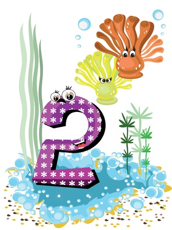 Sea animals and numbers series for kids 2 coralls Illustration
