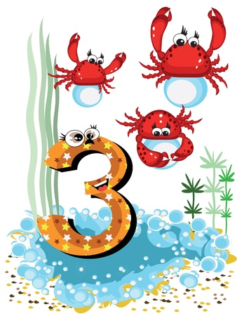 digit 3: Sea animals and numbers series for kids ,3,crabs Illustration