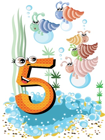 number 5: Sea animals and numbers series for kids ,5,shells Illustration